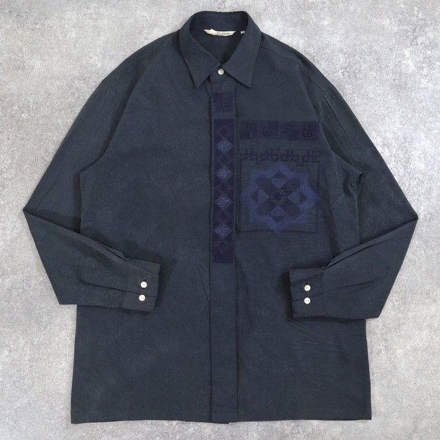 Dull color embroidery design shirt