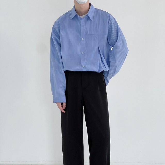 【Ranking No.1】Slit stripe casual shirt   b-462