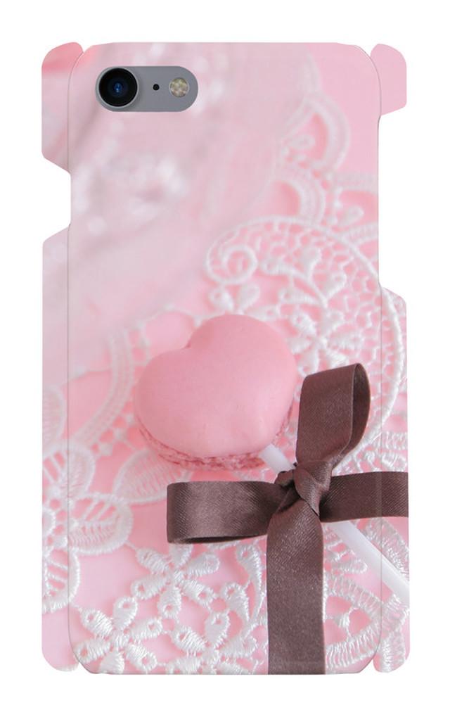 iPhone7/8 ケース 印刷ケース マカロン スイーツ ハート iphone 画像印刷 リボン ピンク お菓子