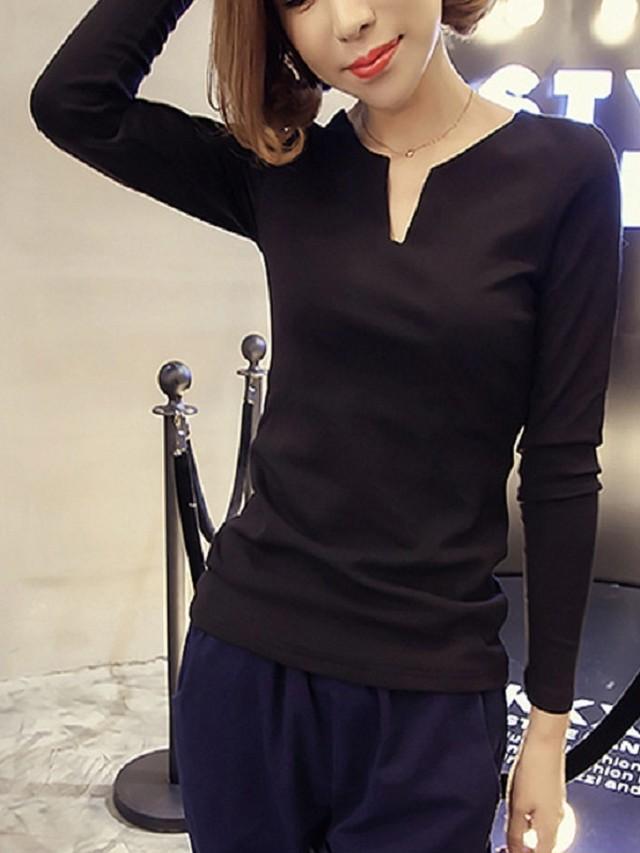 【tops】New solid color V-neck long-sleeved shirt