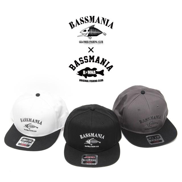 【bassmania×グランダー武蔵】スケルトン刺繍フラットCAP【限定受注生産】【3月中~下旬配送】
