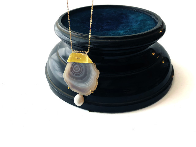 claw necklace(botswana agate)/ No.1084