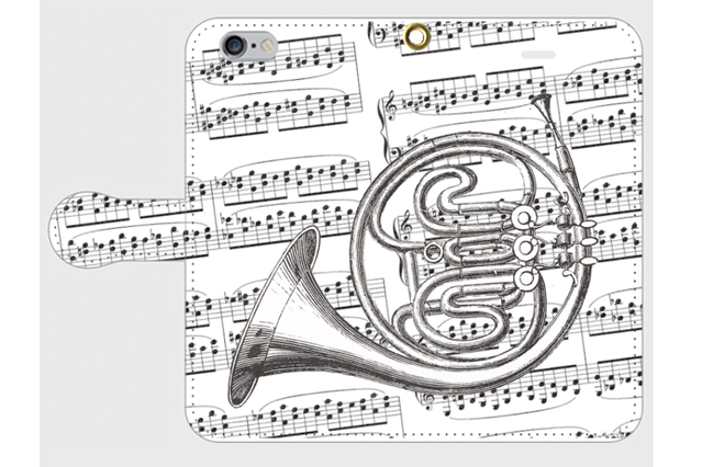 (iPhone用)ホルンの手帳型スマホケース(楽譜)