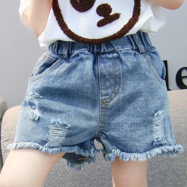 【ボトムス】韓国ファッションデニムプリント子供服ショートパンツ27424183