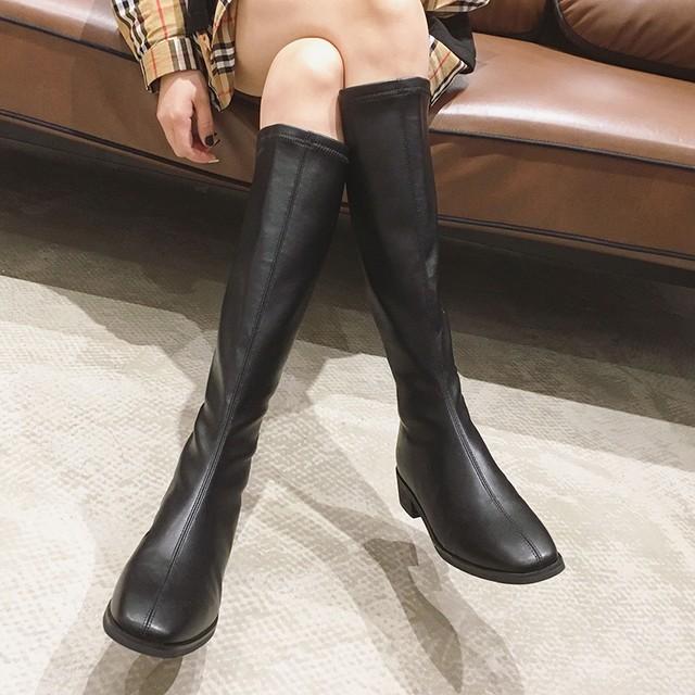 【シューズ】ファッション切り替えブロックヒール抗菌防臭スクエアトゥロング丈ブーツ38474272