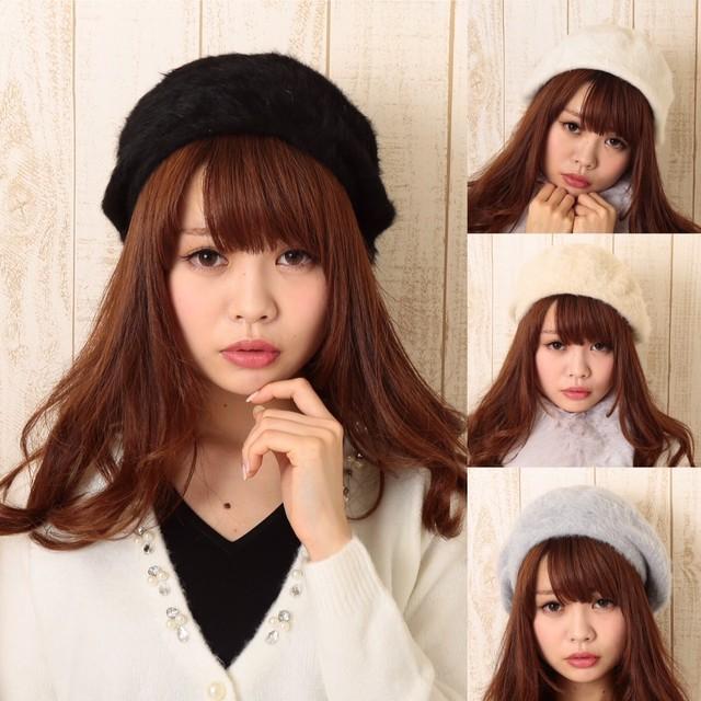 ふわふわベレー帽 4色展開 白・黒・グレー・ベージュ
