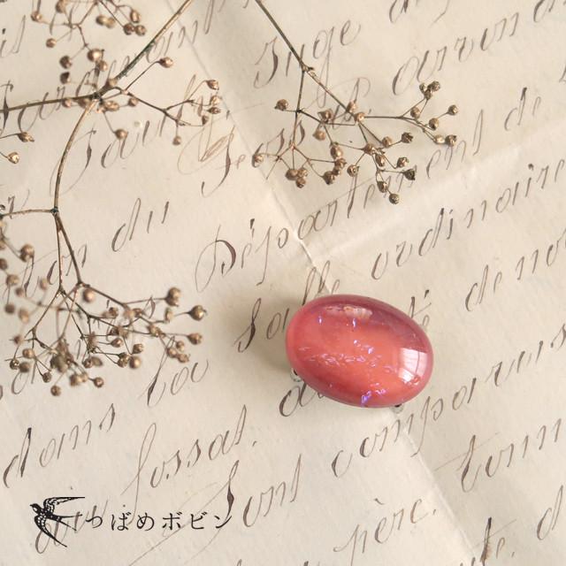 【再入荷】チェコ製ガラス《ドラゴンブレス》の帯留/オーバル◎ピンク