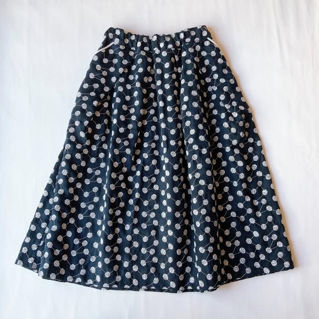 【tuck volume SK】linen embroidery/ネイビー/original textile