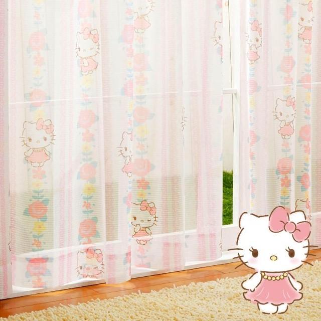 キティ レースカーテン (幅100×176cm丈)【送料無料】