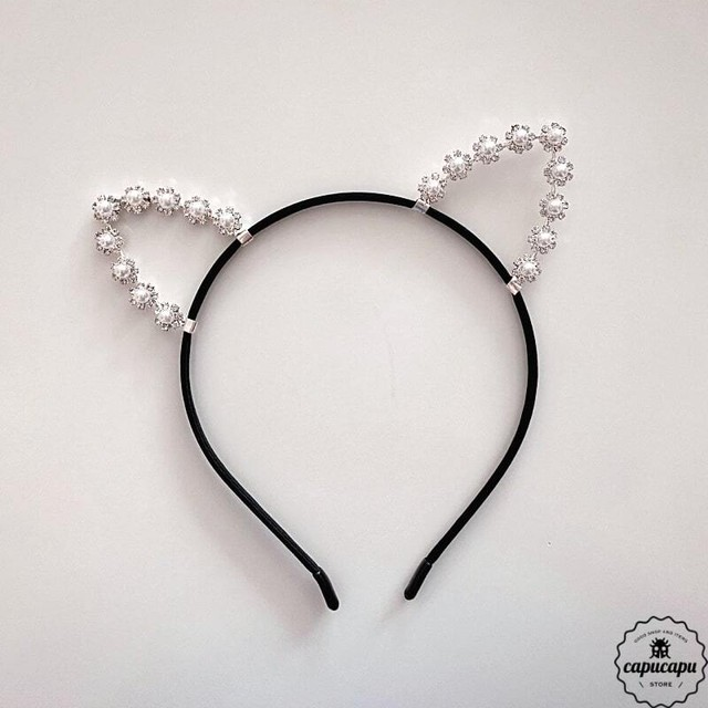 «sold out» cat ear pearl tiara  ねこみみカチューシャ