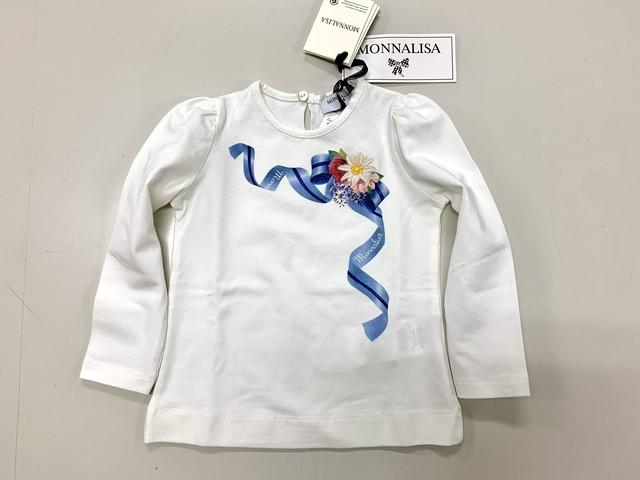 【MONNALISA・モナリザ】1才〜3才長袖Tシャツお花とブルーリボン(340-178)