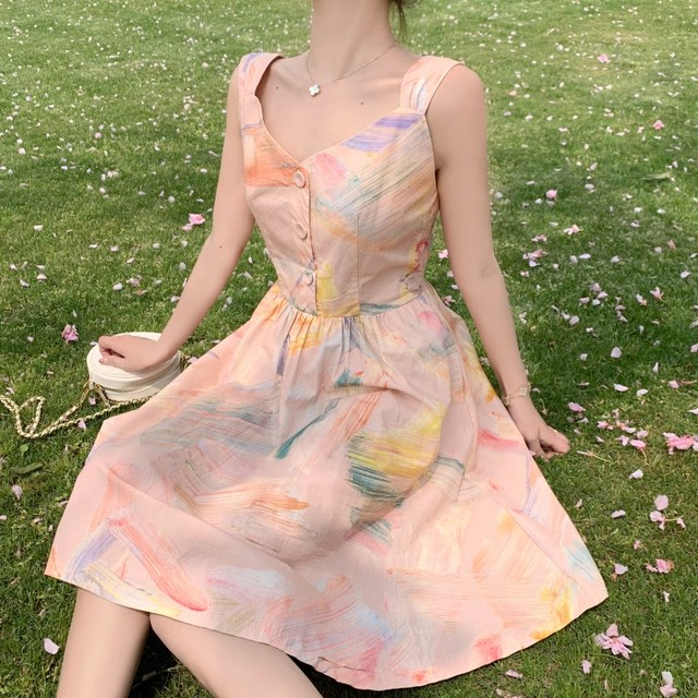 【dress】スウィート配色Aラインギャザー飾りキャミソールプリントワンピース