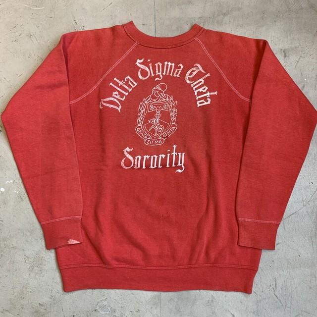 60's~ UNKOWN ラグランスウェットシャツ Delta Sigma Theta ソロリティー フロッキープリント レッド 赤 フェード M位 希少 ヴィンテージ BA-1241 RM1610H