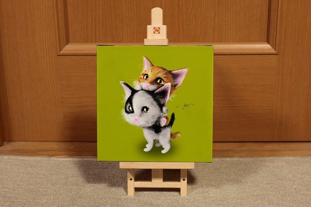 【20cm x 20cm ジクレー版画】子猫_緑バージョン