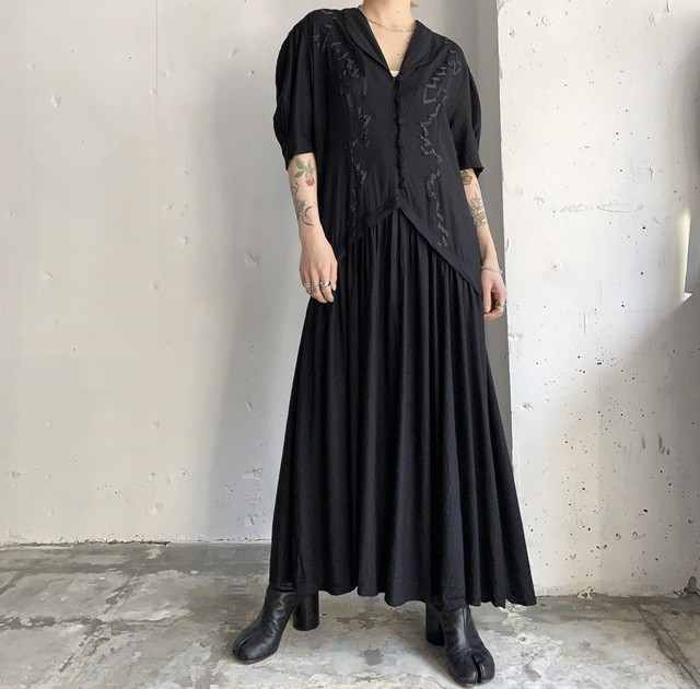 vintage rayon black maxi dress