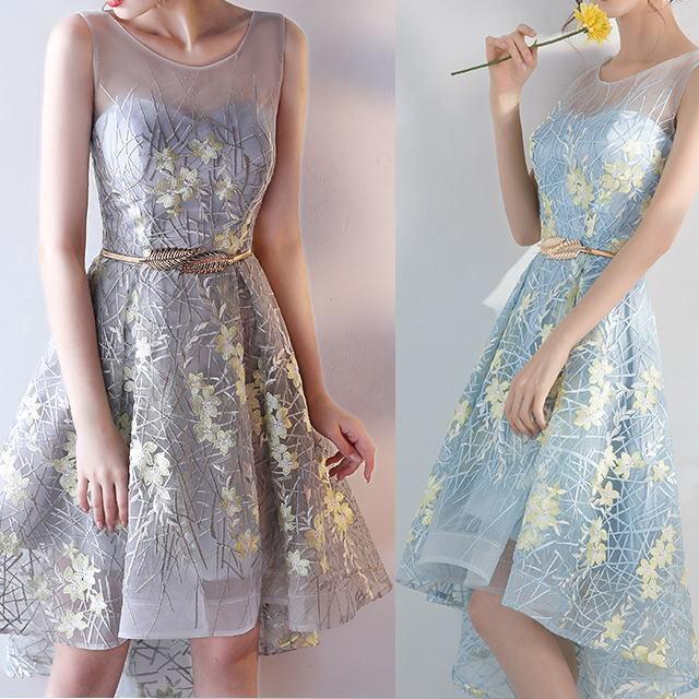 豪華!フラワー刺繡レイヤー ◆ テイルドレス2色 今日のコーデ 大人ワンピ フォーマルドレス 二次会ドレス アパレル ドレス試着 お洒落さんとつながりたい