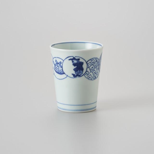 """【青花】""""Classic"""" ミルクカップ[大](丸紋つなぎ)"""