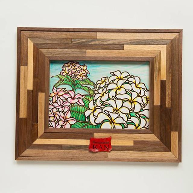 Art 【Plumeria・組み木フレーム ブラウン】