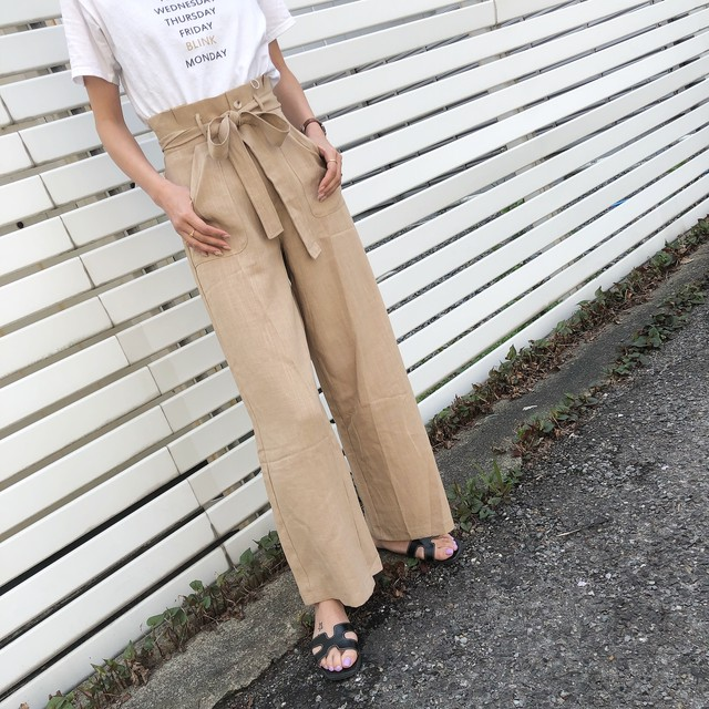 ◆予約◆linen blend high waist wide pants