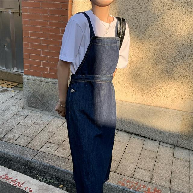 《即納》デニムサロペットスカート