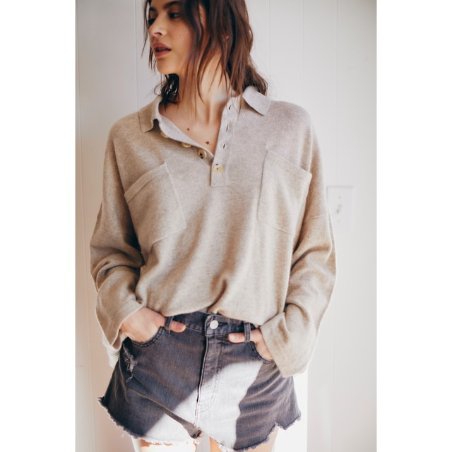 CASHMERE TOMBOY POLO SWEATER TNH19200-29