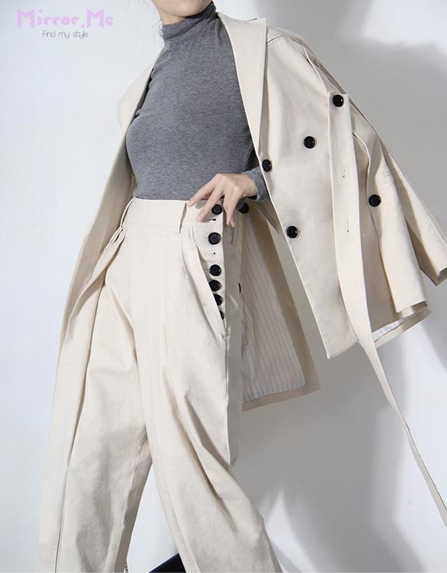 ブラックボタンデザインジャケット&パンツセットアップ