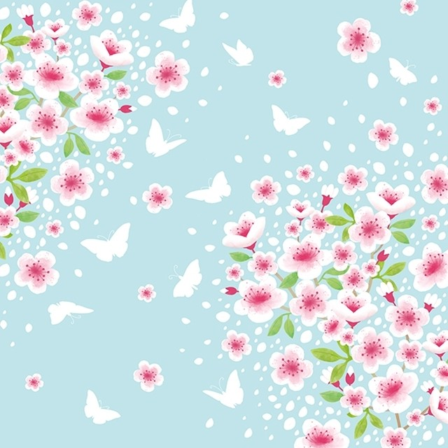 【Atelier】バラ売り2枚 ランチサイズ ペーパーナプキン CHERRY SPRING ブルー×ピンク 桜