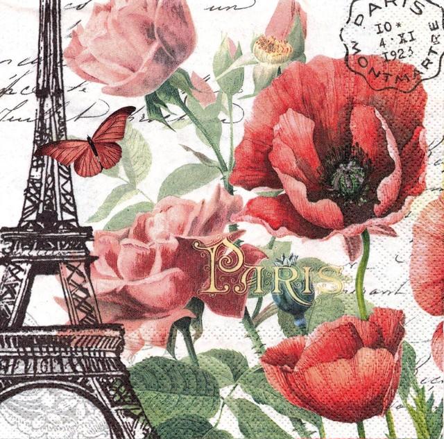 入荷しました|完売再入荷【MICHEL DESIGN WORKS】バラ売り1枚 ランチサイズ ペーパーナプキン TOUJOURS PARIS ピンク