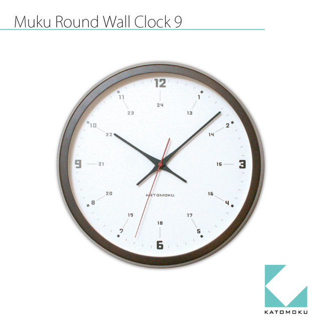 KATOMOKU muku round wall clock 9 km-82NRC 電波時計
