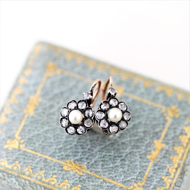 Rose cut Diamond & Pearl Earrings  ローズ・カット ダイヤモンド & パール クラスターリング
