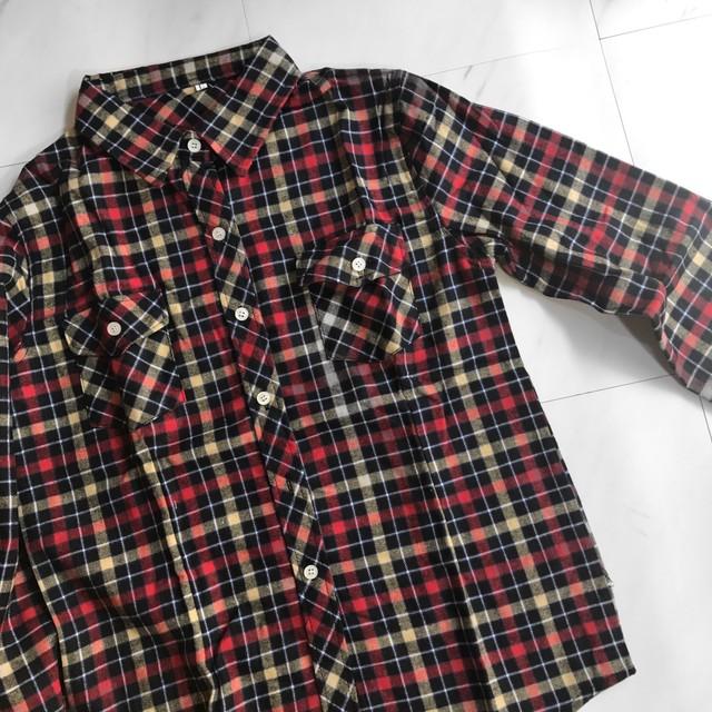 c[H22]チェックシャツL024 レッド+イエロー+ブラック+ブルー
