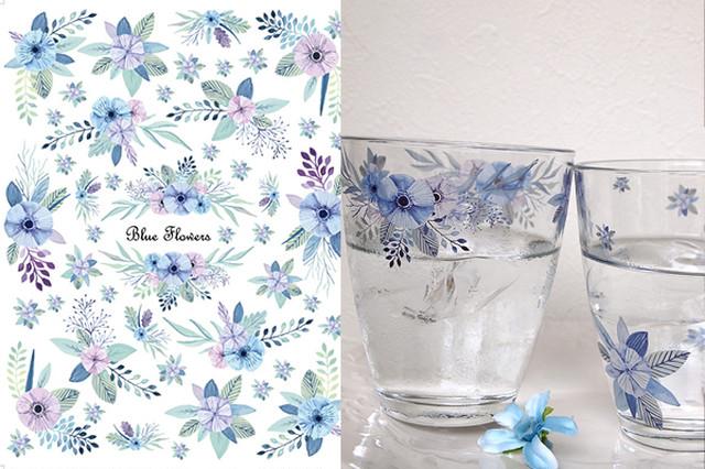 【ガラス用】 水彩 ブルーフラワー BlueFlours A4サイズ(ポーセラーツ用転写紙)