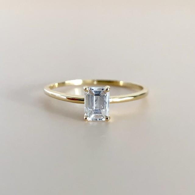 エメラルドカット ダイヤモンド リング 0.351ct  K18イエローゴールド チェカ 鑑別書付
