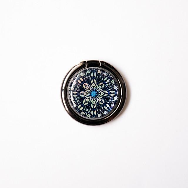 天然貝スマホリング・バンカーリング(フラワーファンタジー・ディープ)螺鈿アート