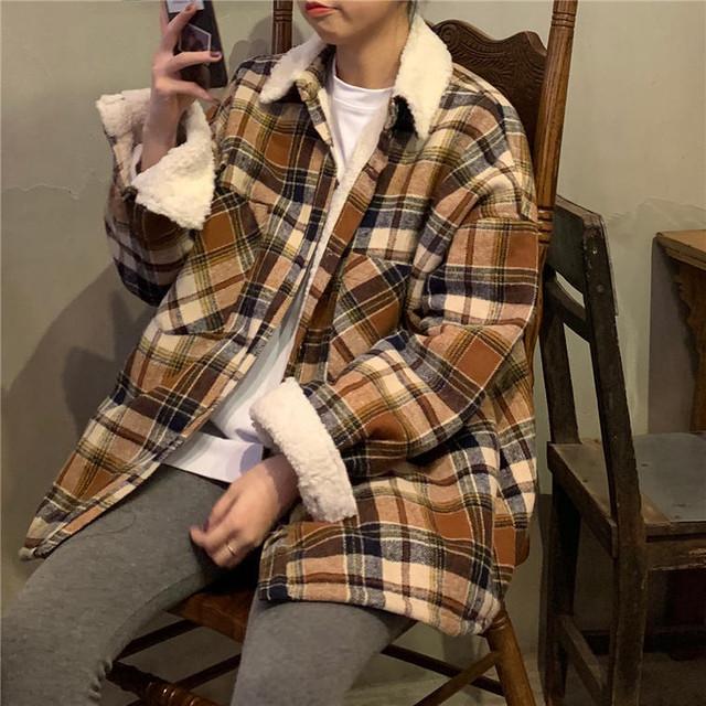 【送料無料】 おしゃれジャケット♡ メンズライク ゆるだぼ チェック柄 シャツジャケット ボア付き