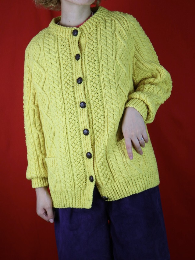 fisherman knit cardigan yellow【0448】
