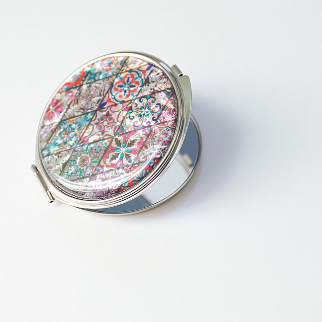 天然貝 コンパクトミラー(パステルピンクモロッコタイル)<螺鈿アート>