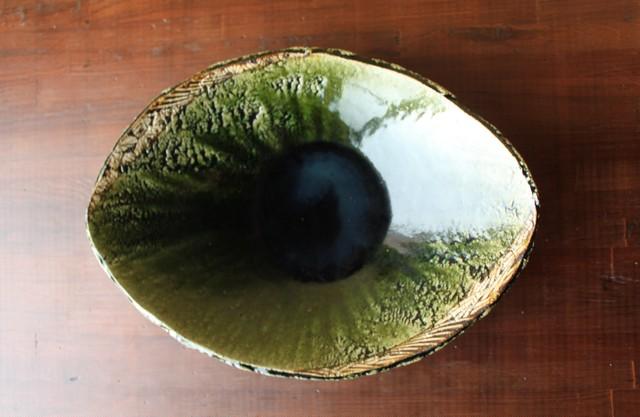 織部鉄絵楕円大鉢