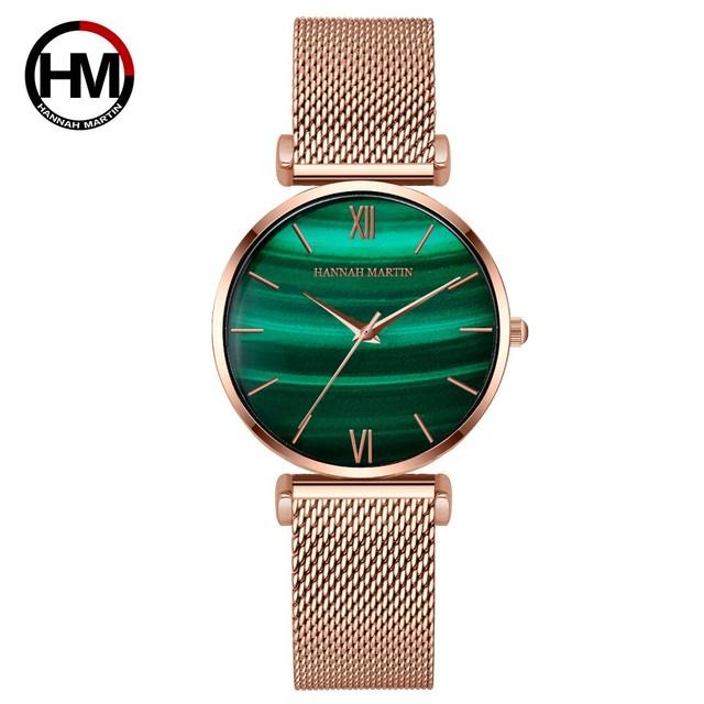 女性用時計グリーンダイヤルレディース日本のクォーツ腕時計防水超薄型ステンレススチールストラップ防水RelojMujer152WF