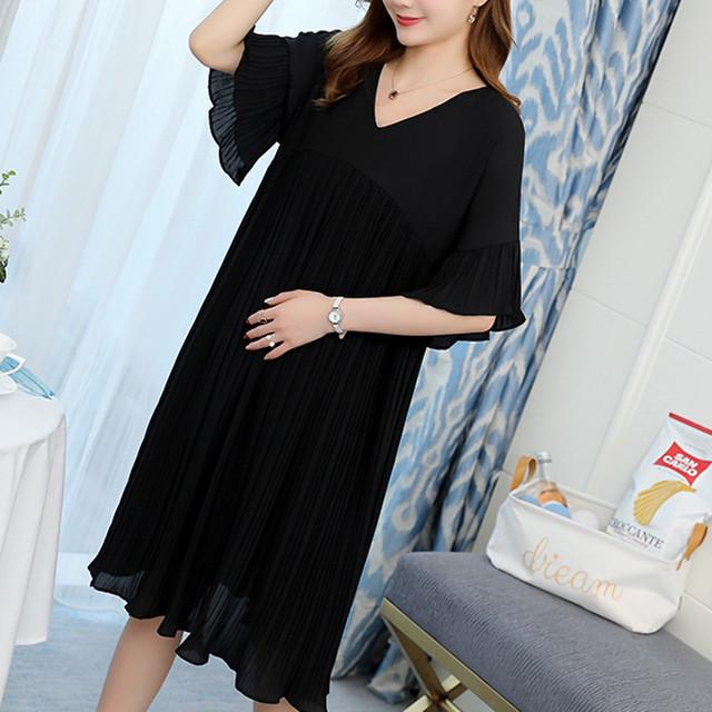 繊細なプリーツが女性らしいワンピース マタニティ 大きいサイズ ゆったり 膝丈 半袖 Aライン プリーツスカート お呼ばれ KFL0032