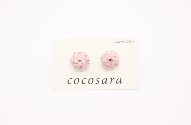ピアス flower ピンク