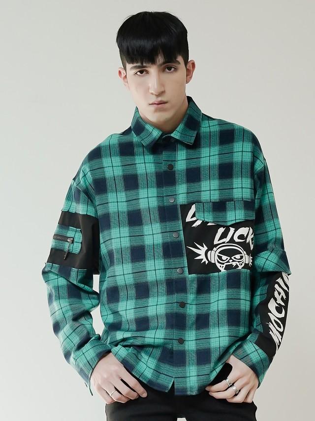 【即日出荷】グリーンチェックシャツ