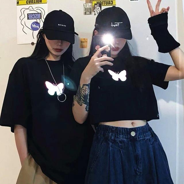 【トップス】ショートレ&レギュラー丈カジュアル反射半袖Tシャツ28950112