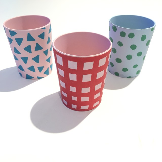 Goma bamboo tumbler - Bold check / Dot / Triangle コップ 食器