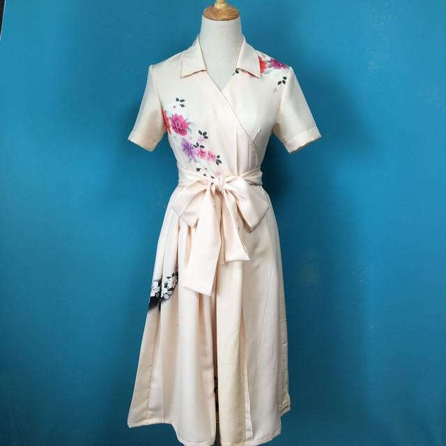 Vintage kimono wrap dress/ US 6 訪問着