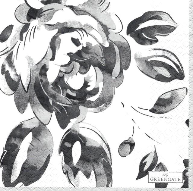 【GreenGate】バラ売り1枚 ランチサイズ ペーパーナプキン AMANDA ダークグレー