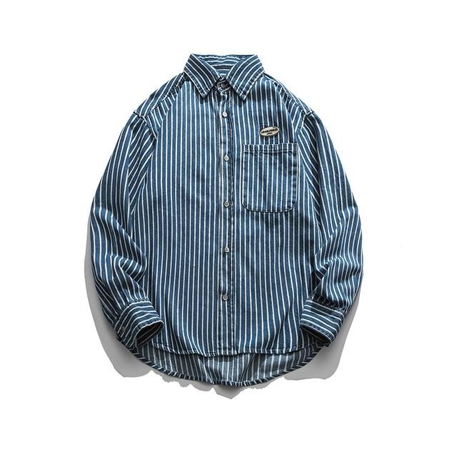【UNISEX】ブルー ストライプ ロングスリーブシャツ