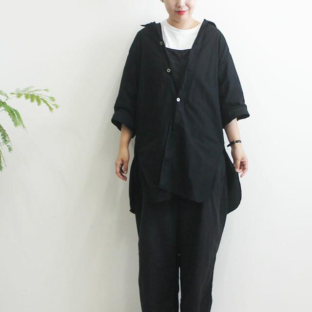dead stock デッドストック ロングシャツ(黒染め) レディース シャツ 7分袖 メディカルシャツ ロング 無地 スウェーデン軍 通販 (品番d-1003)