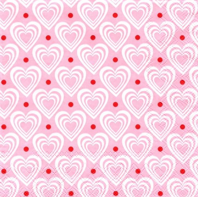 北欧【Krasilnikoff】バラ売り1枚 ランチサイズ ペーパーナプキン 3D HEARTS ピンク
