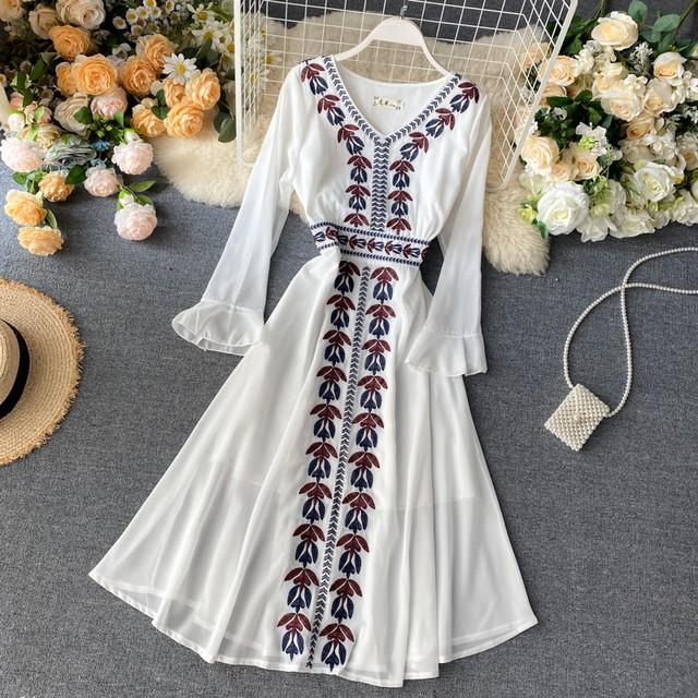 刺繍ロング ワンピース SHD370901